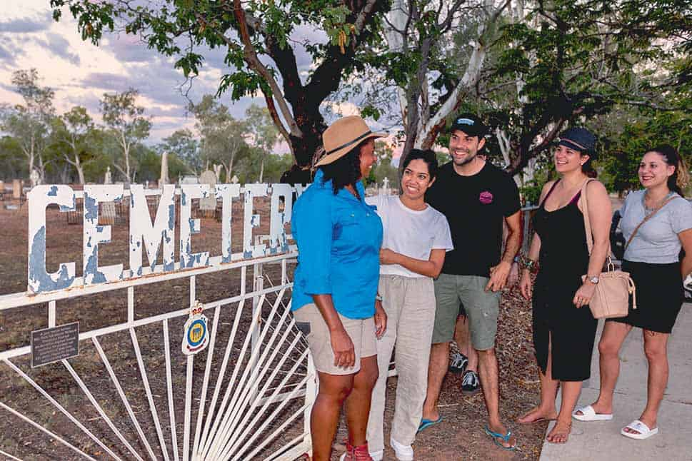 Cheryl Thompson giving a tour of the cemetery in Barcaldine