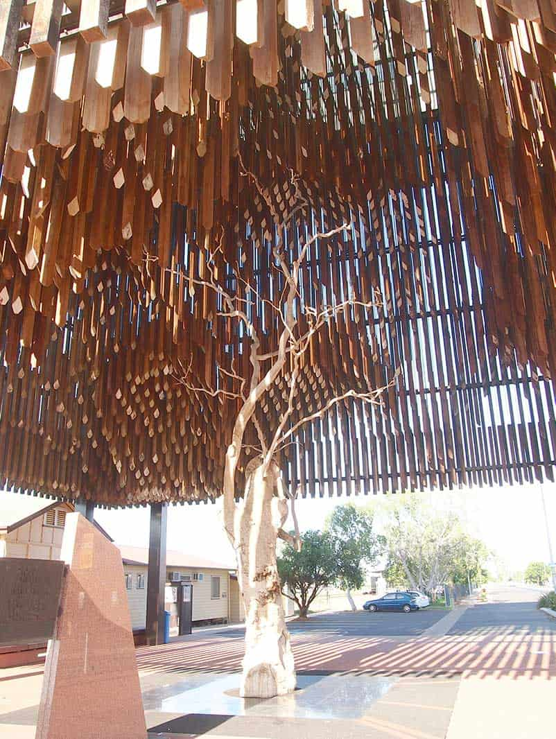 Underneath the wooden man-made branches of Tree of Knowledge monument in Barcaldine