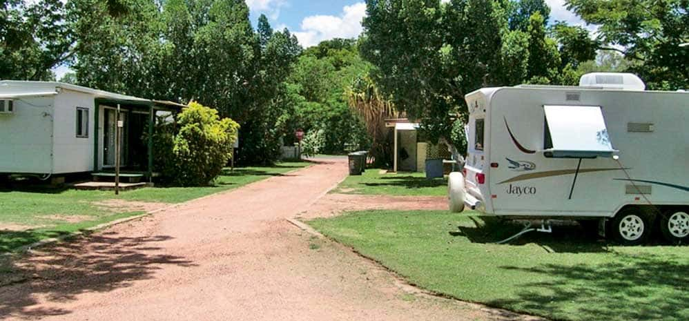 Lush green grass at the Homestead Caravan Park in Barcaldine