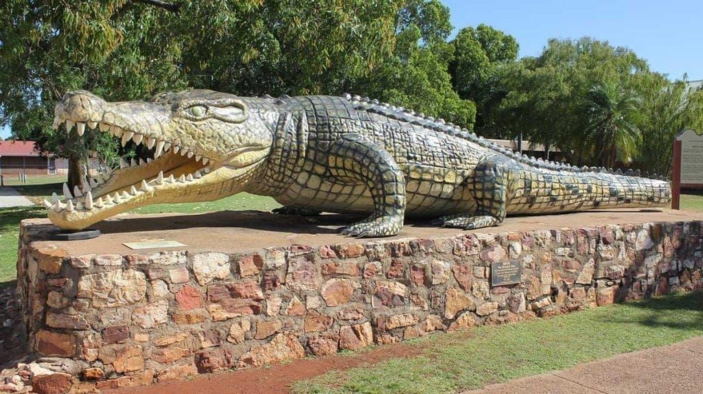 Krys the Croc monument in Normanton