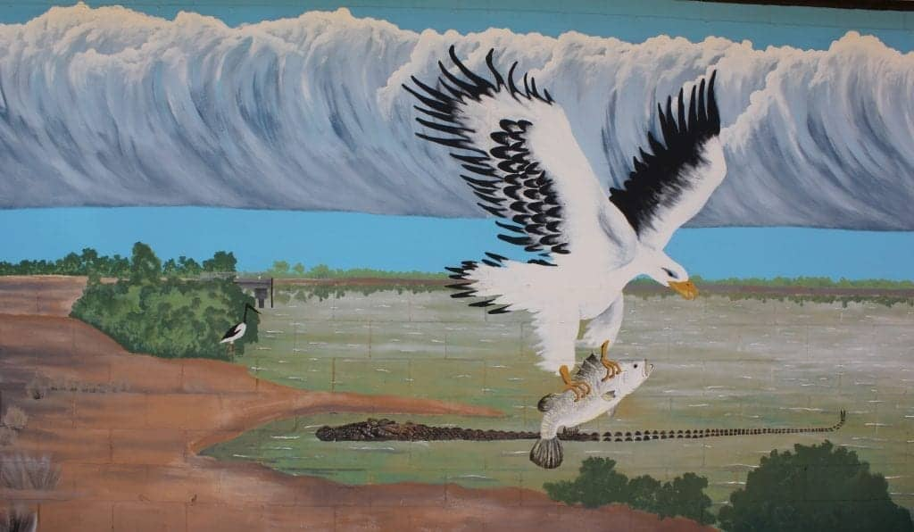 Painting of the Morning Glory cloud formation in Burketown