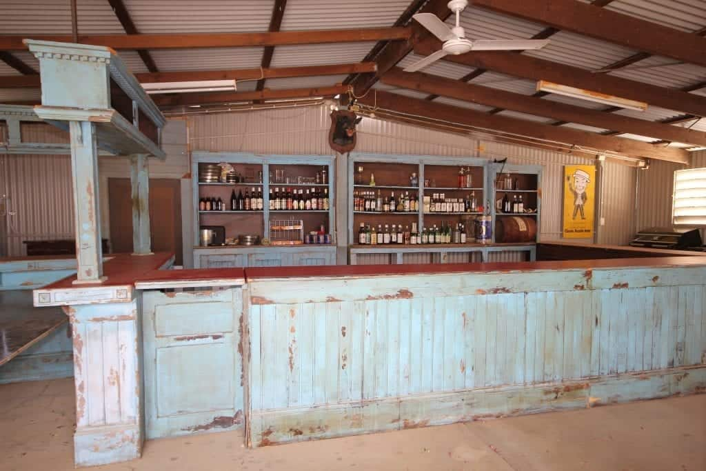 The original crocodile dundee wooden bar located in the Walkabout Creek Hotel