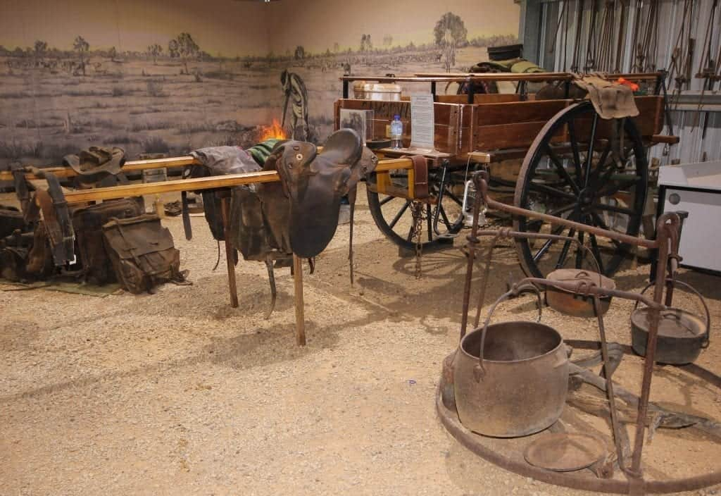 Display of old drover equipment inside the Drovers Camp Museum