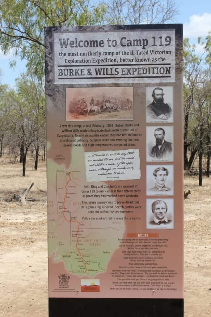Normanton Burke and Wills Expetition Sign