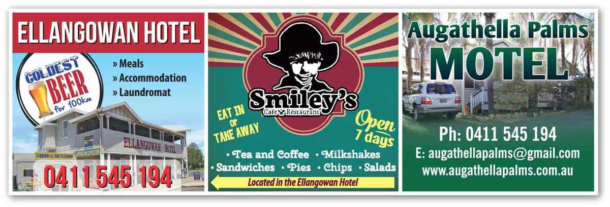 Group advertisement for Ellangowan Hotel, Smiley's Cafe and Restaurant, and Augathella Palms Motel