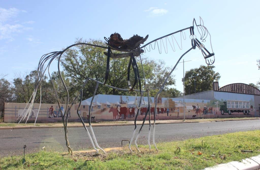 Wrought Iron Sculpture of a saddled horse in Augathella
